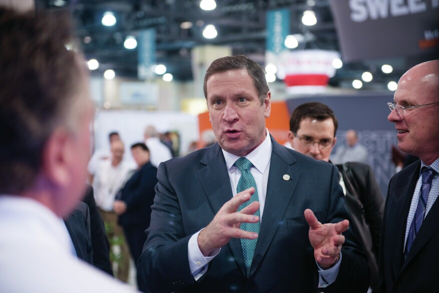 Rick Fedrizzi, CEO of USGBC, on the showfloor of Greenbuild