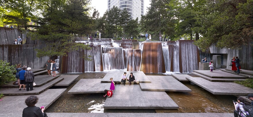 Ira Keller Forecourt Fountain, part of the Portland Open Space Sequence in Oregon