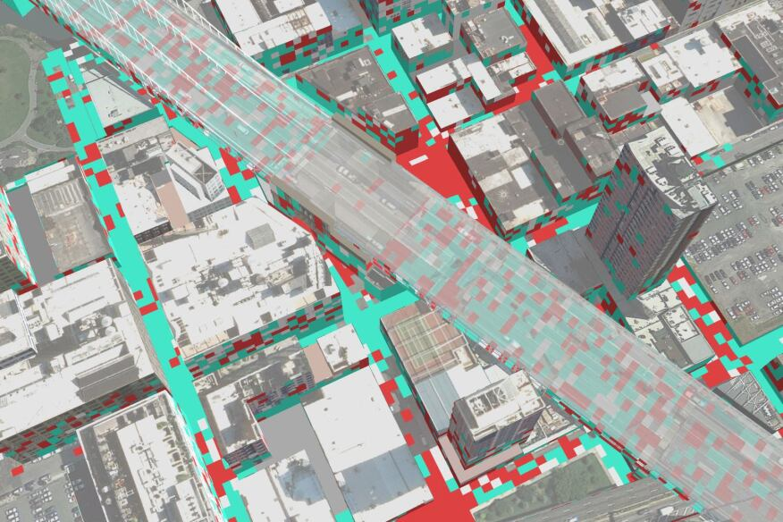 Researchers mapped areas of attention (red) and meditation (cyan) as volunteers walked through New York's DUMBO neighborhood.