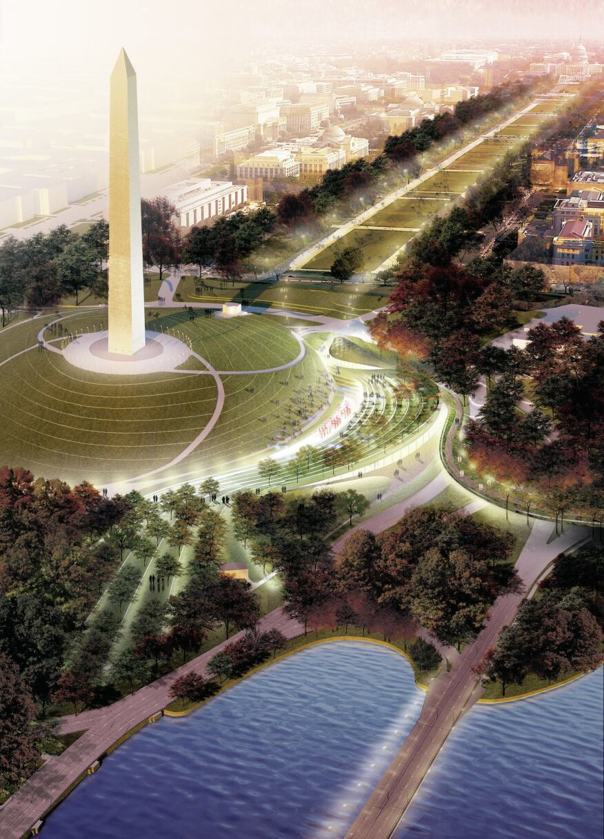 An aerial rendering of the site shows axial relationships with the Washington Monument and the National Mall.