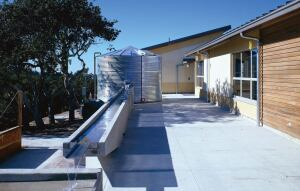 Chartwell School, Seaside, Calif., is a stellar example of California's sustainability initiatives in schools. The school features a 32-kilowatt photovoltaic array to generate all its electricity and an 8,700-gallon (32933-L) rainwater cistern that helps reduce water usage by 60 percent.
