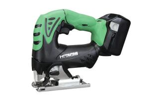 Hitachi CJ18DSLP4Stroke: 1 inch; 0-2,400  Cutting modes: Straight + 3 orbital  Bevel: Takes Allen key  LED light: Yes  Weight w/battery (by ToTT): 5.26 lbs  Web price (bare; kit): $121; n/a  Kit includes: Sold bare only  Country of origin: China  Pros: Very compact; lightest model tested; highly effective dust blower; fastest cutter in nonorbital mode  Cons: Must be gripped with two hands to prevent vibration during heavy orbital cutting; battery sticks and is hard to remove; clamp partially blocks LED light; base does not include nonmarring cover