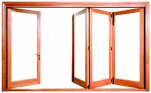 FOLD AWAY: This door system can operate like a folding door or as a traditional swing  door. Able to create a 52-foot-wide opening, it comes in nine metal-clad colors, sustainable  mahogany, and FSC-certified coastal Douglas fir for both  the exterior and interior of the doors. Standard panels measure up to 39 inches  wide and 10 feet high. Custom sizes are available. Loewen. 877-563-9368. www.loewen.com.