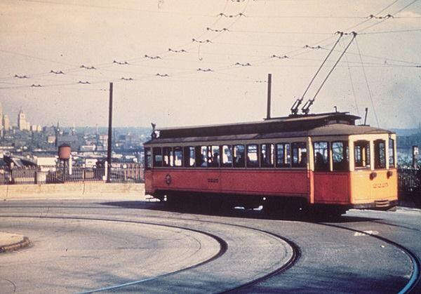 A Cincinnati streetcar circa 1940s. The rail line was abandoned in 1951.