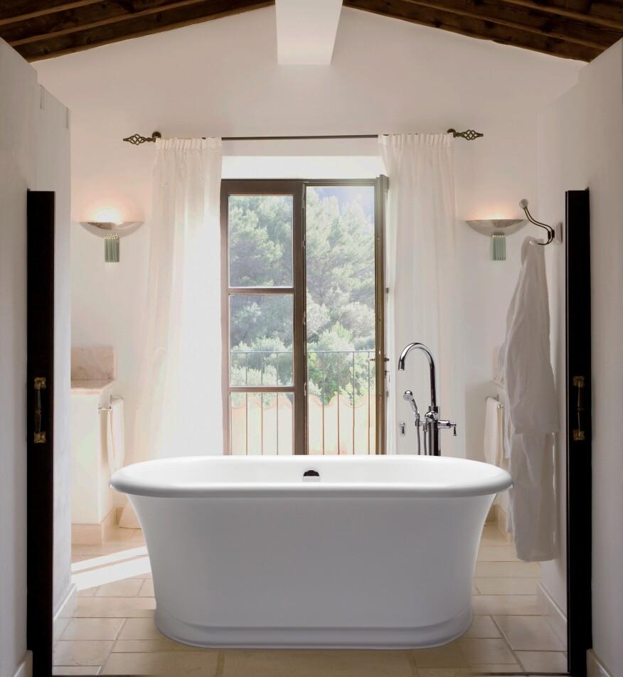 Open bathroom in rustic villa