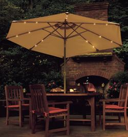COOL IN THE SHADE: During the day, it provides shelter from the sun, and at night, the Hampton Bay Solar Umbrella draws on the sunlight it has soaked up all day and sheds light for four hours. Four stainless steel solar panels attached to the top of the umbrella pull in sunrays. The umbrella light includes a solar panel and three lamps in satin nickel finish, each with four powerful LEDs. The nine-foot umbrella boasts weather-resistant construction and can be used with most patio furniture. For more information, contact Hampton Bay at 877-527-0313 or visit www.hamptonbay.com.
