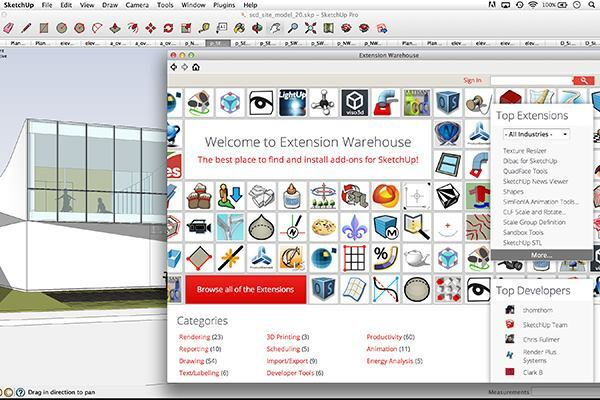 In its first version upgrade since its purchase by Trimble Navigation, SketchUp Pro 2013 now includes its own app store, Extension Warehouse, which offers add-on tools built by developers using the software's open-application programming interface. Apps are available across a wide variety of categories from rendering to 3D printing to animation; more than 150 community-supplied extensions have been created since the store launched in May. Highlights include: Architect Tools, which allows designers working with imported map data to generate buildings and stepped terrains; and CloudUp, which syncs users' SketchUp to Dropbox, Google Drive, or any other cloud storage. The latest release of SketchUp Pro also features improvements to its LayOut tool and 2D documentation capabilities. SketchUp Pro, which was created by Google and purchased by Trimble in 2013, is a 3D modeling program that can model from CAD, terrain data, photographs, or hand sketches. The software, which costs $590 per seat, is geared toward architects, engineers, general contractors, and building owners. A free version, SketchUp Make, is also available for nonprofessionals.