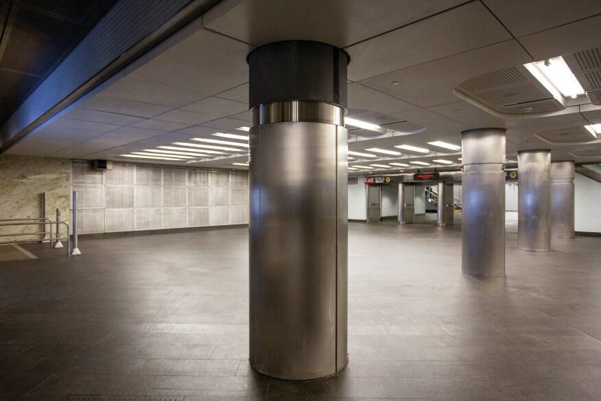 One of the underground concourse passageways at the Fulton Center.
