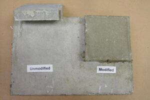 At left, an unmodified patch is easily dislodged due to a lack of hydration during curing and lack of adhesion. At right, a modified patch at 10% polymer (percent polymer by weight to cement) would not budge.