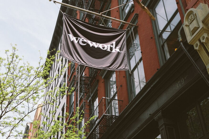 The exterior of WeWork's location at 379 West Broadway, New York.
