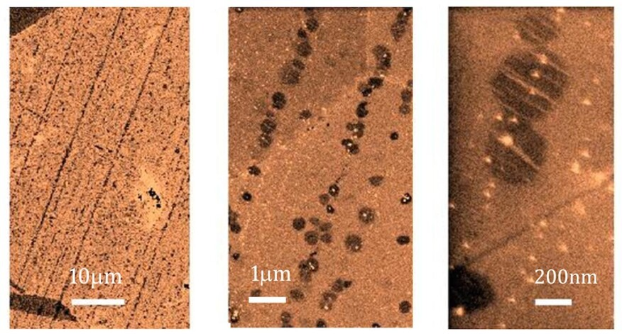 Early-stage graphene growth on copper, magnified from left to right.