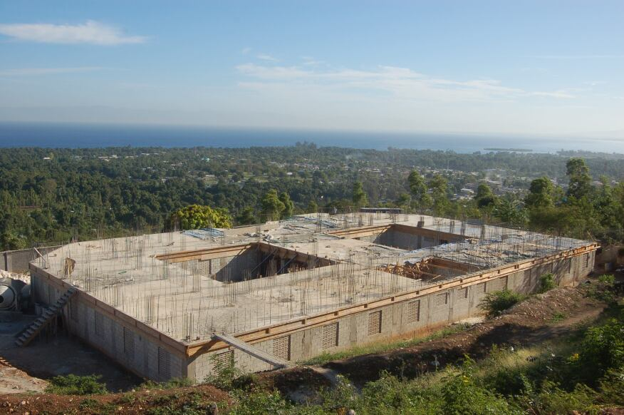 The second floor of a Haitian orphanage being built by Massachusetts home builder Len Gengel was recently poured. The building, built in honor of Gengel's daughter Britney, who died in the earthquake there, is scheduled to open on the quake's third anniversary in January 2013.