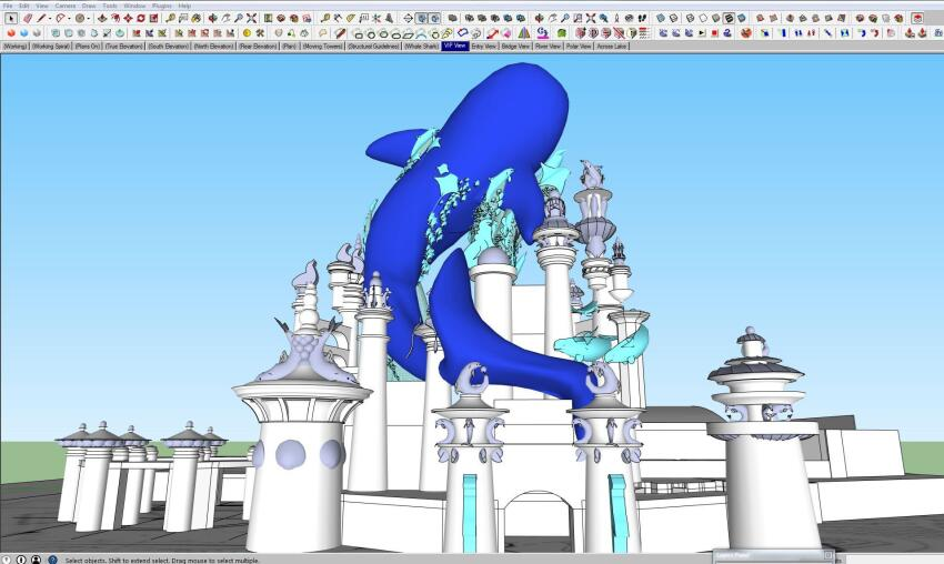 The whale shark becomes closer to reality in SketchUp. See the real thing here.