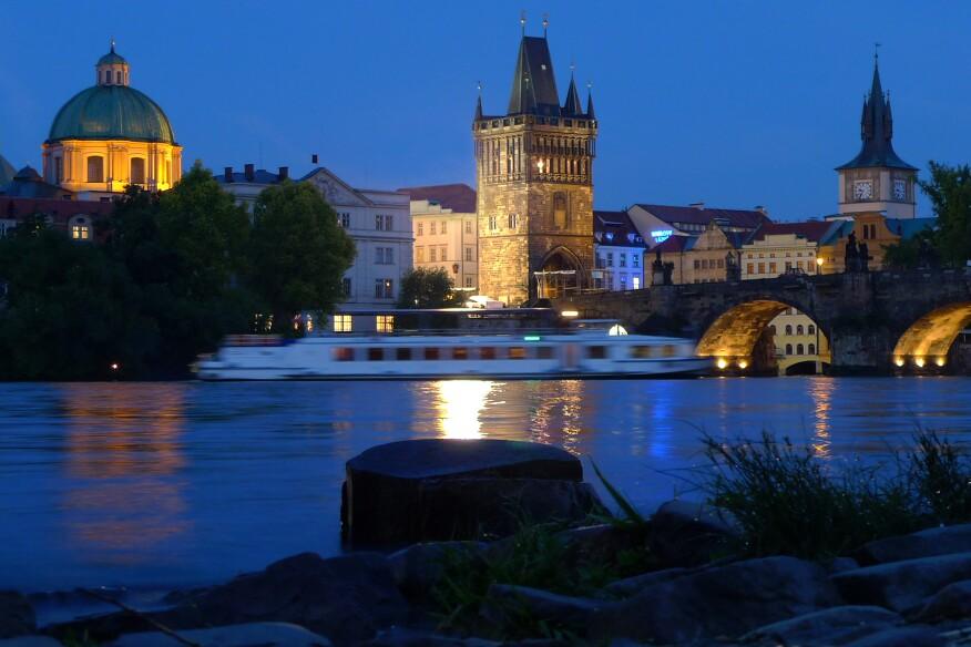 The historic Charles Bridge in Prague.