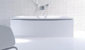 The minimalist PuraVida bathroom suite from Duravit, designed in collaboration with Phoenix Design and Hansgrohe, includes wash basins, toilets, shower trays, consoles, mirrors, cabinets, and bathtubs. Fittings are colored white to blend with the ceramic. The panel that pairs with the built-in tub features a joint that can hold an optional white LED. Furniture pieces are available in red or black paired with high-gloss white, ebony, or aluminum.  duravit.com