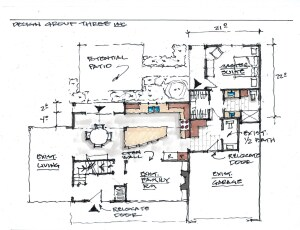 Design Group Three offers freehand concept sketches like this one for no charge, along with a cost proposal. Clients sign a contract for all further design and construction.