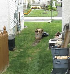Figure 1. Concealing outdoor items such as garden tools, sporting goods, and AC condensers can be a challenge at many urban homes.