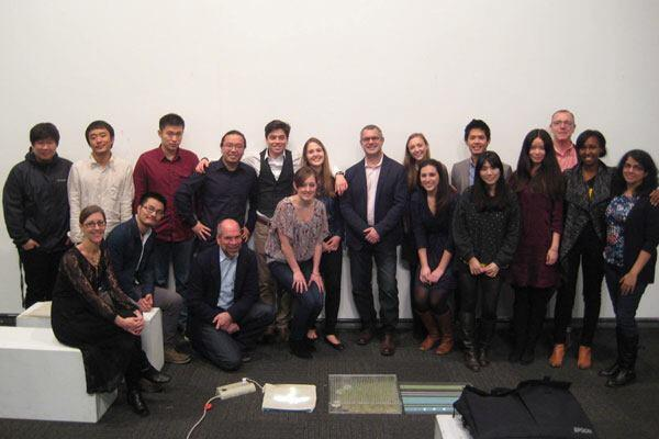 The University of Pennsylvania's Fall 2013 Integrated Product Design class, pictured with Interface's Jennifer Busch and Chip DeGrace, Gensler's Jordan Goldstein and Jim Camp, and teaching assistant Thabo Lenneiye.