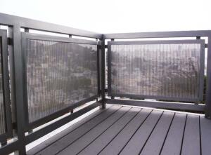 Metal mesh fencing  GKD  www.gkdmetalfabrics.com  Continuous-run metal fabrics that can be finished into custom applications  Several standard flexible and rigid fabric profiles available Seen here in the 185 Corwin project in San Francisco designed by local firm Steel Cherry
