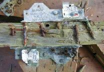 Figure 2. After one year's outdoor exposure in Olympia, Wash., galvanized fasteners driven into ACQ-treated lumber have begun to corrode (top). After five years in the same environment (bottom), rust is apparent everywhere.