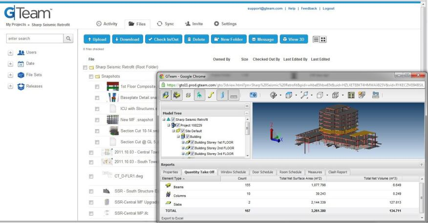 The GTeam file-management interface and a 3D BIM data window.