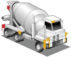 The U.S. Department of Transportation mandates red and amber lights and headlights  in these respective areas on ready-mix trucks.