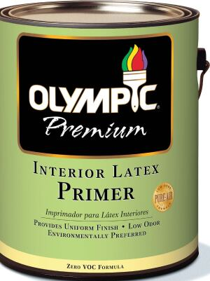 Zero VOC primer  Olympic  olympic.com  Water-based, zero-VOC, low-odor primer    100 percent acrylic formula    Can be used on all common painting surfaces, including previously painted drywall    Available exclusively at Lowe's