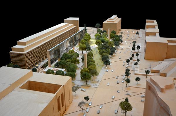 Axonometric perspective down Independence Avenue of Gehry's revised design.