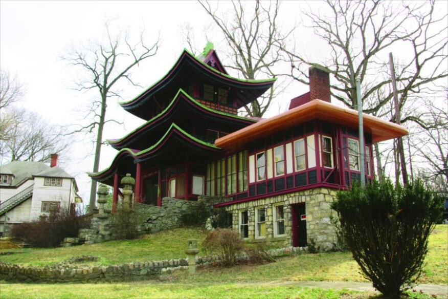 This is D.C.?: A Japanese pagoda (shown here) and English manor-style hotel (below) are among the 23 vintage structures that will eventually be transformed into residences at the National Park Seminary in Forest Glen, Md.