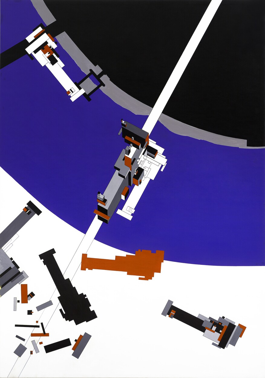"""""""Malevich's Tektonik,"""" Hadid's AA thesis from 1976-77"""