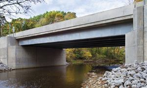 The High Road Bridge over Long Run Creek, Lockport Township, Ill., features hybrid-composition beams (HCBs).