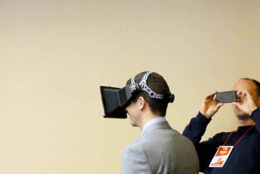 University of Minnesota researchers showed off their virtual reality headgear, which allows users to navigate through virtual environments.