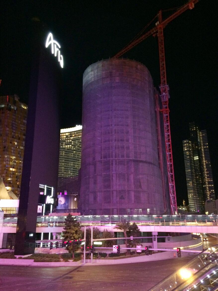 The Harmon hotel in Las Vegas, which is being demolished following seismic concerns. The hotel, by London's Foster + Partners, was designed as part of the CityCenter complex. [ARCHITECT]