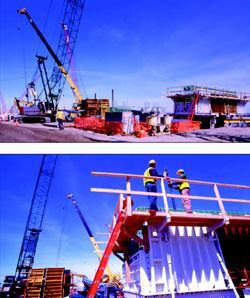 Top: Bridge sections between the abutments will be supported by poured-in-place concrete piers built atop jetted/driven pre-cast concrete piles. Bottom: A surveyor used the Leica GPS system to quickly direct the crane operator to the precise location for placing the precast concrete piles for the bridge piers.