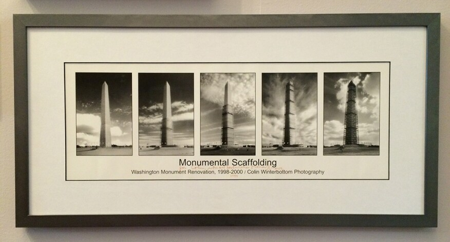 A poster depicting the late 1990s Washington Monument scaffolding and original scrim design by Michael Graves.