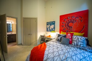 Student apartments at 33 North in Denton, Texas, have private bedrooms with in-room bathrooms.