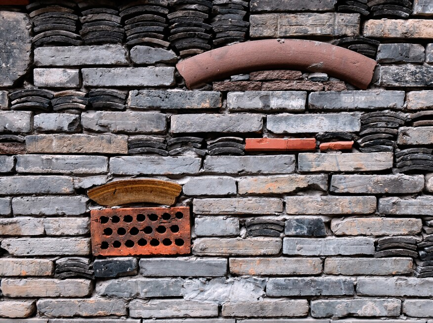 This detail of the wapan tiling method at the Hangzhou Academy of Art by Amateur Architecture Studio, in  Hangzhou, China, shows new uses for reclaimed building materials.
