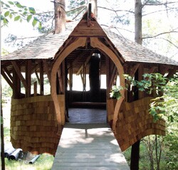 This artful treehouse on the Yestermorrow campus was designed and built by students of the Vermont design/build school, which focuses on teaching good design and skilled craftsmanship as a single process.