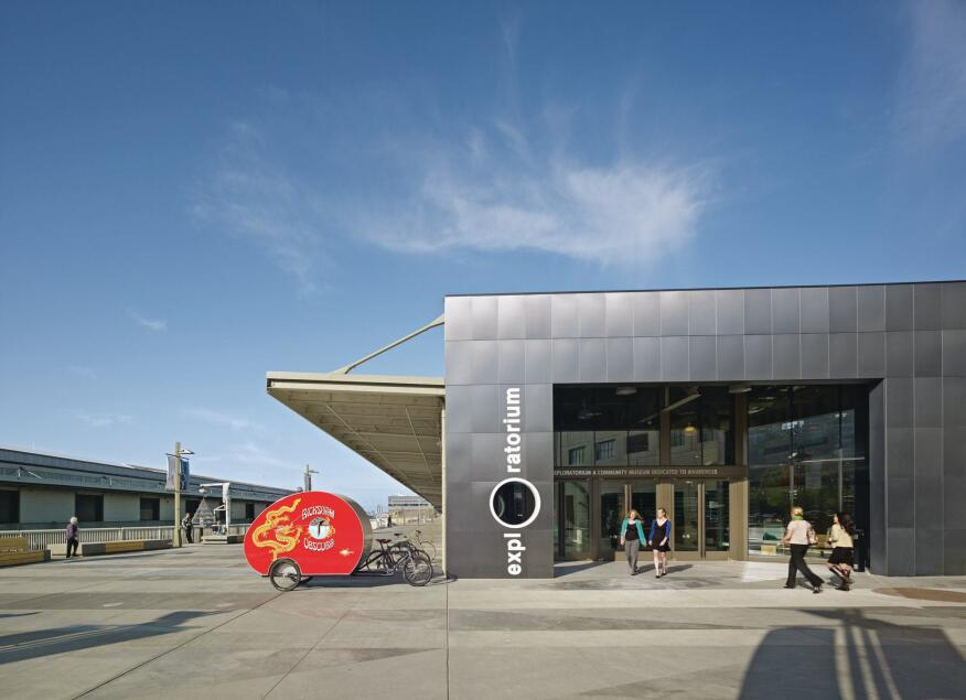 The new aluminum-panel-clad entrance to the Exploratorium on Pier 15 in San Francisco.
