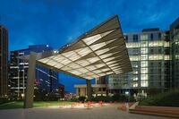 2014 AL Design Awards: SandRidge Commons, SandRidge Energy Headquarters, Landscape and Tower Lighting, Oklahoma City, Okla.