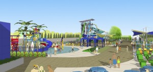 An artist's rendering shows waterslides and a water playground that are part of the the Emerald Glen Recreation and Aquatic Complex. (City of Dublin)
