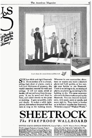 Old ad for Sheetrock