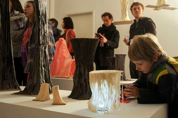 The Robotic Foaming cluster filled its exhibit space with structures made with robotic arms that followed actions scripted by participants.