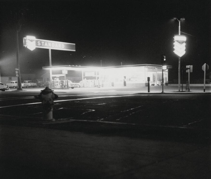 Ed Ruscha's 1962 photograph of the Standard gas station on Figueroa Street in Los Angeles.