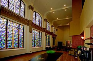 ILLUMINATING PRESENCE: Panes of stained glass windows adorn the lobby of Sanctuary Lofts, a church–turned–student housing community in San Marcos, Texas. The developer was a partnership between Tekoa Partners and Momark Development.