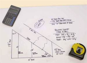 The author draws a full-scale triangle to match the rise and run of the stair he's building.