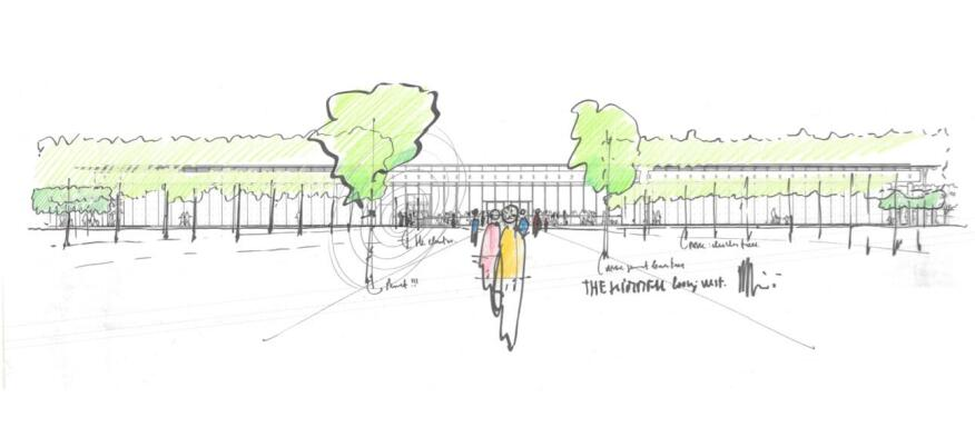 Sketch of the main entrance and garden by Renzo Piano.