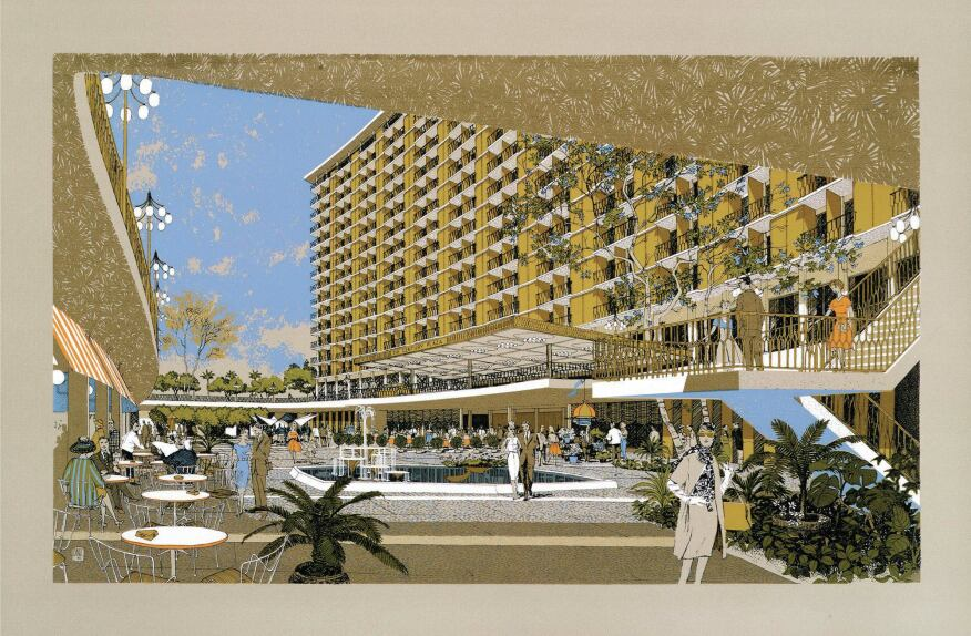 A screenprint of the 1966 Century Plaza Hotel, designed by Minoru Yamasaki. Recently threatened with demolition, the building is slated to be restored by the Los Angeles firm Marmol Radziner.