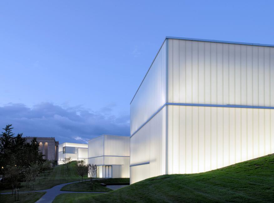 "The award-winning Nelson Atkins Museum of Art Bloch Building addition, named ""#1 Architectural Marvel of 2007"" by Time Magazine, is composed of five interconnected structures that traverse from the existing building across its sculpture park to form new spaces and angles of vision."