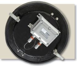 Installing an INode may be done in less than 20 minutes: It requires removing the steel manhole cover and securing the INode sensor in the new composite fiberglass manhole cover, then securing it to the frame with cam locks. Photos: EmNet LLC